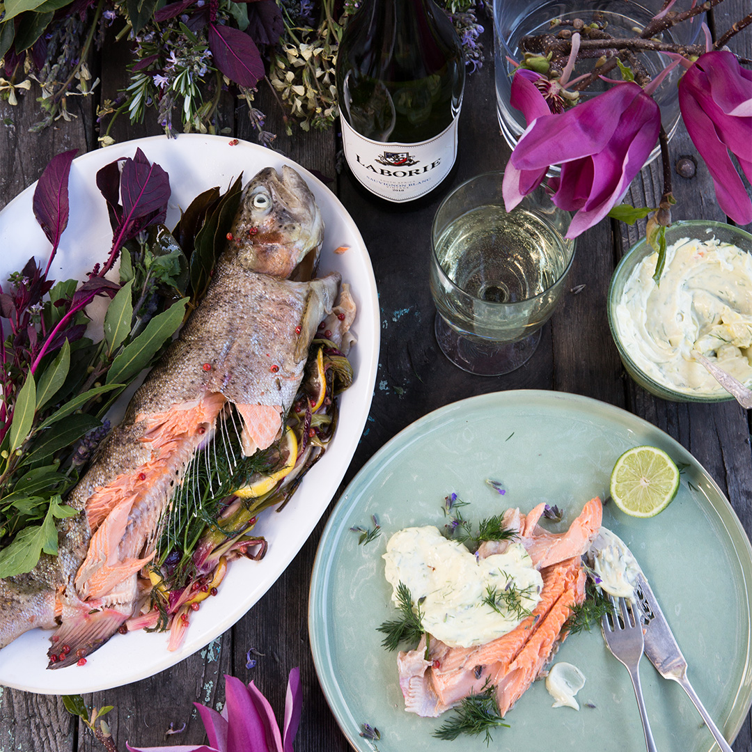 Baked fish with country herbs and Laborie Sauvignon Blanc